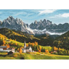 ZN 10666 Cross stitch kit with tapestry - Autumn coloured mountains