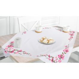 ZU 10664 Cross stitch kit - Tablecloth with sprigs of cherries
