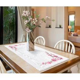 ZU 10665 Cross stitch kit - Table runner with sprigs of cherries
