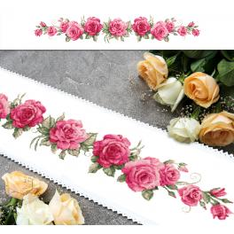 ZU 10448 Cross stitch kit - Long table runner with roses