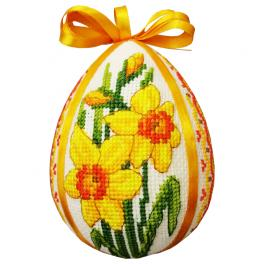 ZU 10662 Cross stitch kit - Easter egg with daffodils