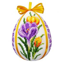ZU 10661 Cross stitch kit - Easter egg with crocuses