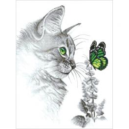 ZI 10300 Cross stitch kit with mouline and beads - Kitten with butterfly
