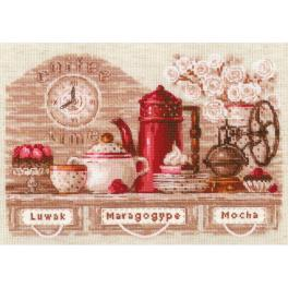 RIO 1874 Cross stitch kit with yarn - Coffee time