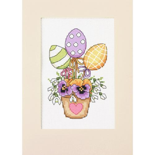 ZU 10310 Cross stitch kit - Card - Composition with Easter eggs