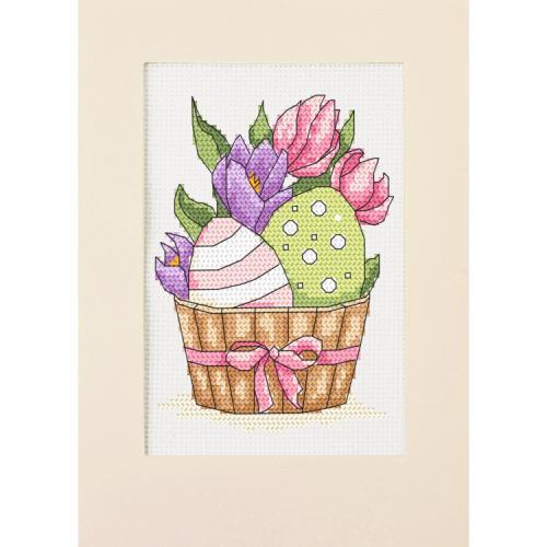 ZU 10309 Cross stitch kit - Card - Easter eggs