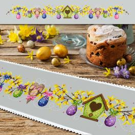 ZU 10456 Cross stitch kit - Long table runner with Easter eggs