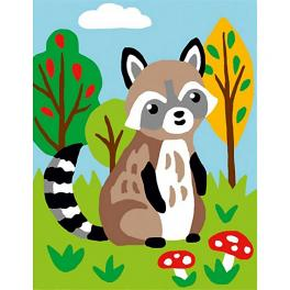 CA 3322K Gobelin kit - Raccoon in the forest