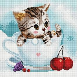 PD3030004 Diamond painting kit - Kitten and cherries