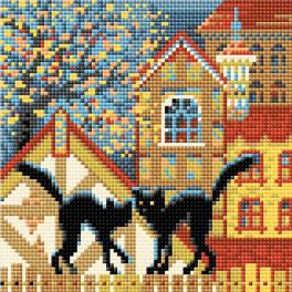 RIO AM0049 Diamond painting kit - City and cats