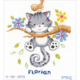 VPN-0146276 Cross stitch kit - Birth certificate - Playful kitten
