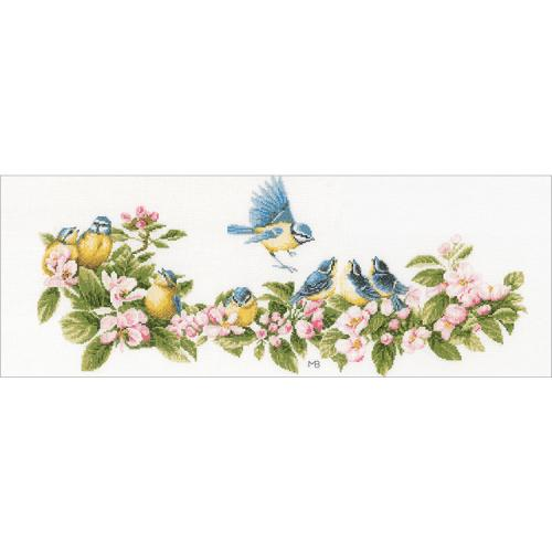 LPN-0173176 Cross stitch kit - Blue tits and blossoms