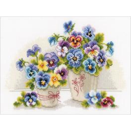 VPN-0146578 Cross stitch kit - Pretty pansies