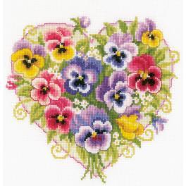 VPN-0170404 Cross stitch kit - Pansies in a heart shape