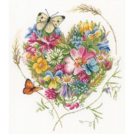 LPN-0169960 Cross stitch kit - A heart of flowers