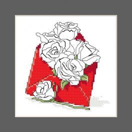 ZU 10327-03 Cross stitch kit - Postcard - Envelope full of roses