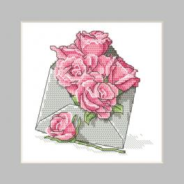 ZU 10326-03 Cross stitch kit - Postcard - Envelope with roses