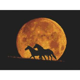 GC 10323 Cross stitch pattern - Horses in the moonlight