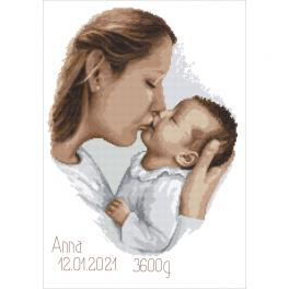 ZN 10457 Cross stitch kit with tapestry - Birth certificate - Mother's kiss
