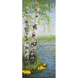 ZN 10459 Cross stitch kit with tapestry - Spring birches
