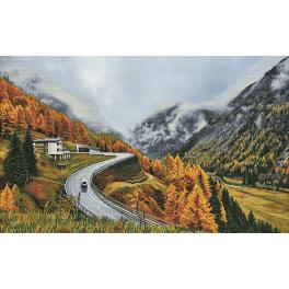 NCP 1507 Cross stitch kit with printed background - Mountain fog