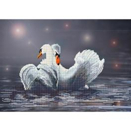 NCB 3207 Cross stitch kit with printed background - Swan fidelity