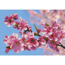 NCP 3262 Cross stitch kit with printed background - Sakura