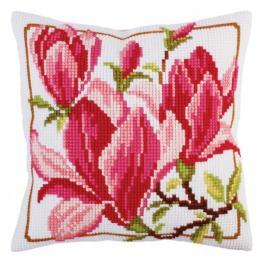CA 5292 Cross stitch tapestry kit - Cushion - Magnolia flowers