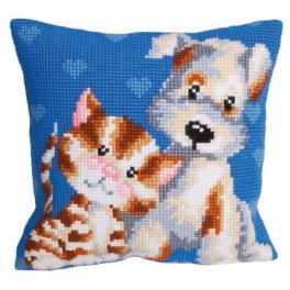 CA 5110 Cross stitch tapestry kit - Cushion - Best buddies