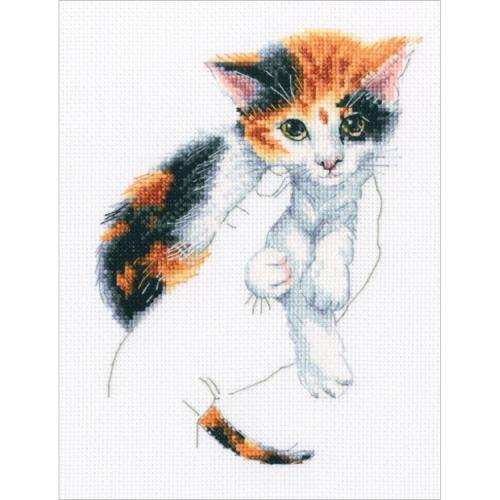 ZTM 819 Cross stitch kit - In palms - kitten