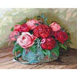 SANP-36 Cross stitch kit - Peonies and roses