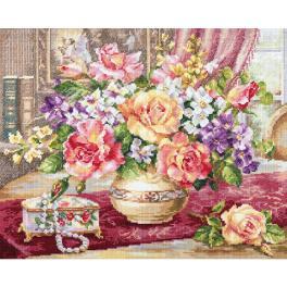 ALI 2-50 Cross stitch kit - Roses in the living room