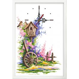 ZGR 10076 Cross stitch kit with mouline, clock and frame - Summer clock