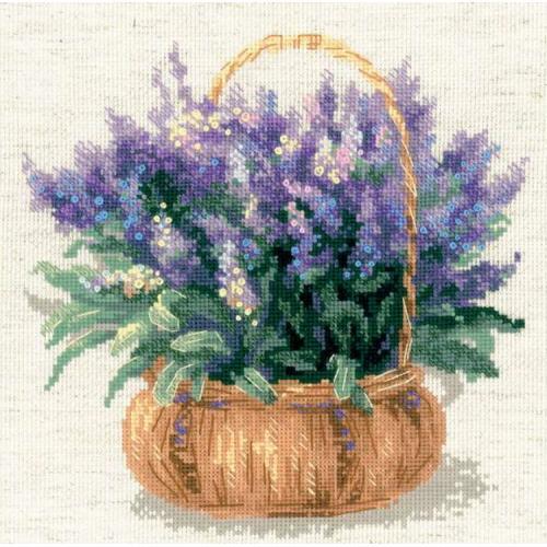 RIO 1404 Cross stitch kit with yarn - French lavender