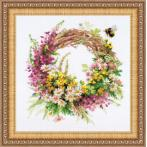 RIO 1456 Cross stitch kit with mouline - Wreath with fireweed