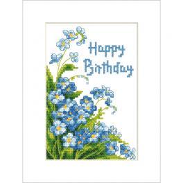 ZU 10678 Cross stitch kit - Postcard - Happy Birthday