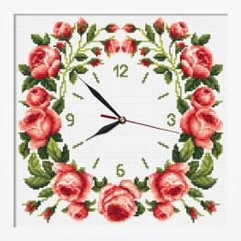 ZGRI 10677 Cross stitch kit with mouline and beads, clock and frame - Clock with roses