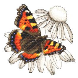 ZI 10331 Cross stitch kit with mouline and beads - Butterfly and echinacea flower