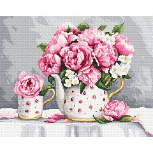 W 10461 Cross stitch pattern PDF - Porcelain peonies