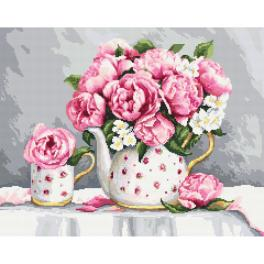 AN 10461 Tapestry Aida - Porcelain peonies