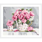ZN 10461 Cross stitch tapestry kit - Porcelain peonies