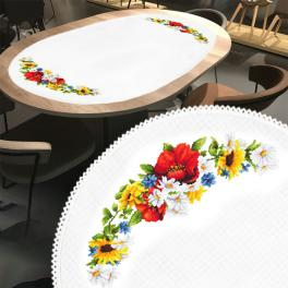 ZU 10462 Cross stitch kit - Oval table runner with poppies