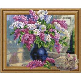 5PD4050042 Diamond painting kit - Lilac and a cat