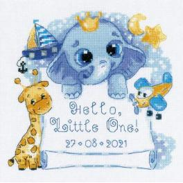 RIO 1935 Cross stitch kit with mouline - Birth certificate - Hello, little one boy!