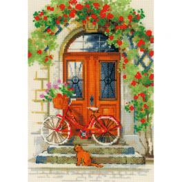 RIO 1831 Cross stitch kit with yarn - Italian door