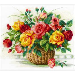 RIO 1722 Cross stitch kit with mouline - Basket with roses