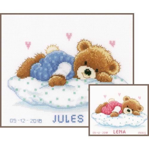 VPN-0002201 Cross stitch kit - Birth certificate - Snoozing teddy bear