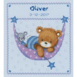 VPN-0150993 Cross stitch kit - Birth certificate - Bear in hammock for a boy