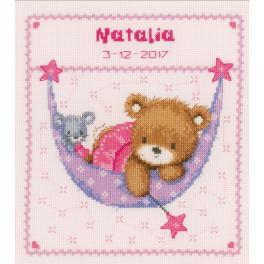 VPN-0148471 Cross stitch kit - Birth certificate - Bear in hammock for a girl