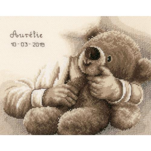 VPN-0163748 Cross stitch kit - Birth certificate - Teddy bear